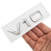 V10 Cromo Etiqueta Do Logotipo para Audi TT RS7 SQ5 A8L Número Carta Emblema Estilo Do Carro Preto Brilhante Lado Fender Tronco logotipo do emblema