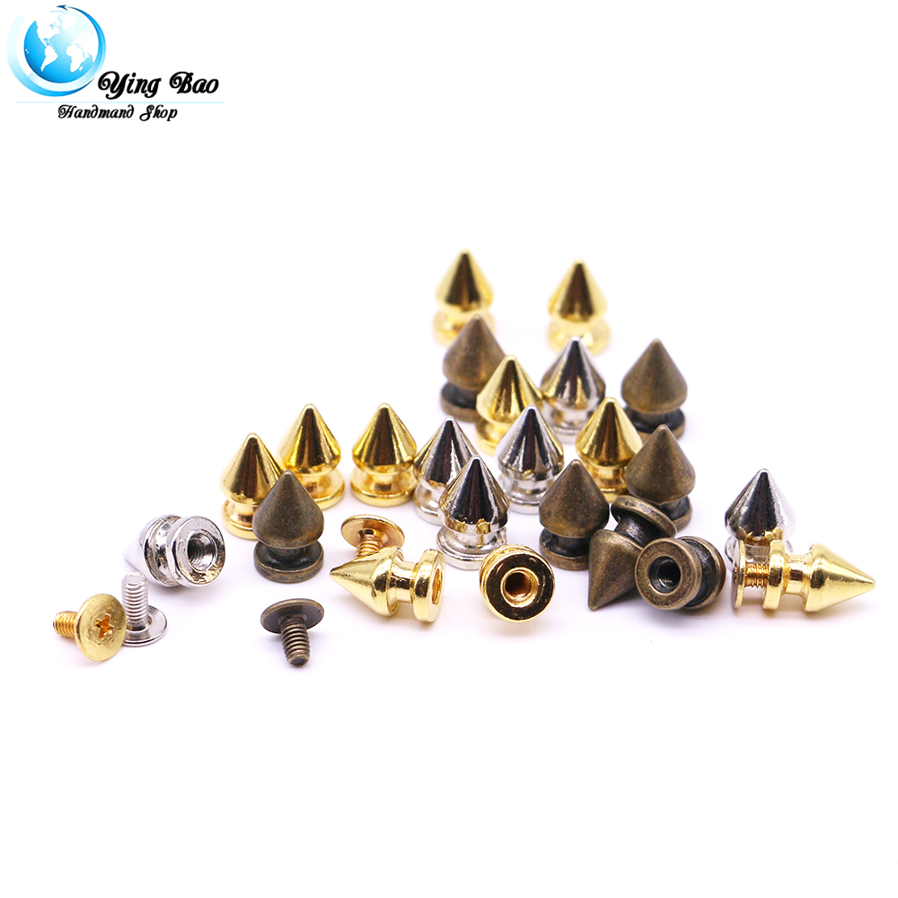 50sets/pack 8mm (Diameter), 12.4mm (Height)  spikes 8mm colorful spikes rivet accessories neon studs and spikes silver B-02