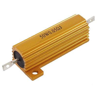 50Watt 0.05 Ohm 5% Gold Tone Aluminum Shell Wire Wound Resistor