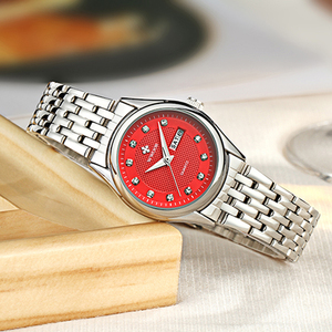 Image 3 - WWOOR reloj rojo de marca de moda para mujer, reloj de pulsera informal para mujer, reloj de acero inoxidable con fecha de cuarzo, reloj para mujer