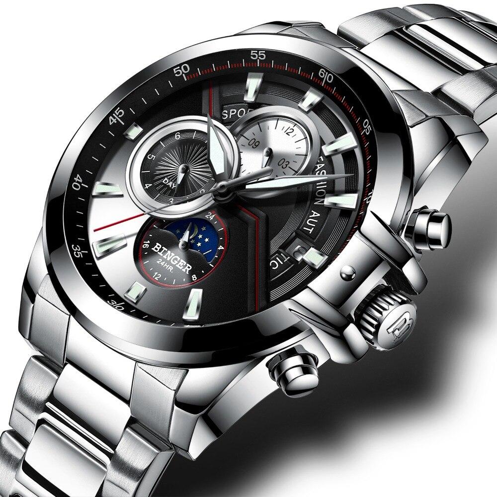 Switzerland Multifunction Military Watch Men BINGER Automatic Mechanical Watch Calendar Week Moon phase Sapphire Luminous hands