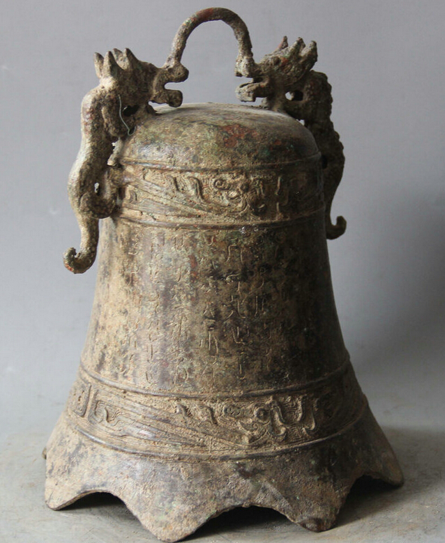 Elegant old S5983 10 Archaic Chinese Dynasty Palace Bronze Two Dragon Temple hanging Bell Zhong statue (A0322) A0403 - 4