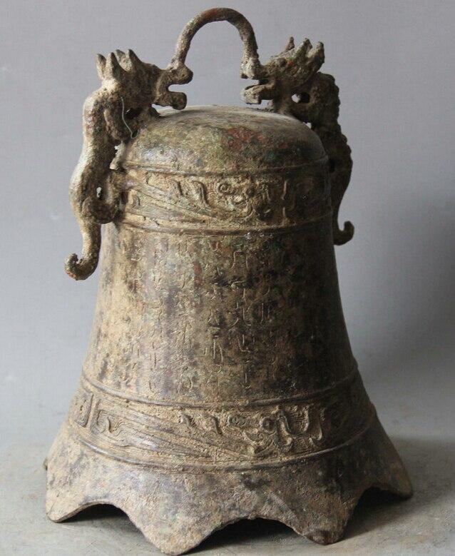 Elegante vecchia S5983 10 arcaica Dinastia Cinese Palace Bronzo Two Dragon Tempio Campana appesa Zhong statua (A0322) A0403 - 4