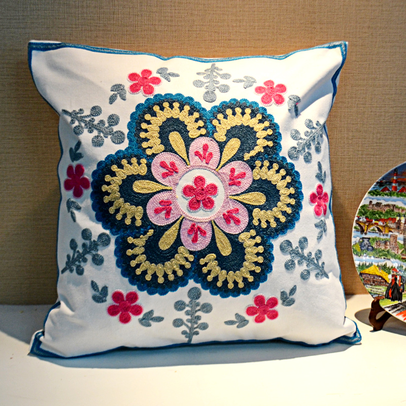 ONEICE Free Shipping Embroidery Cushion Pillow Bedside Backrest Folk Custom  Pillow Sofa Cushion Covers Pillow Cover