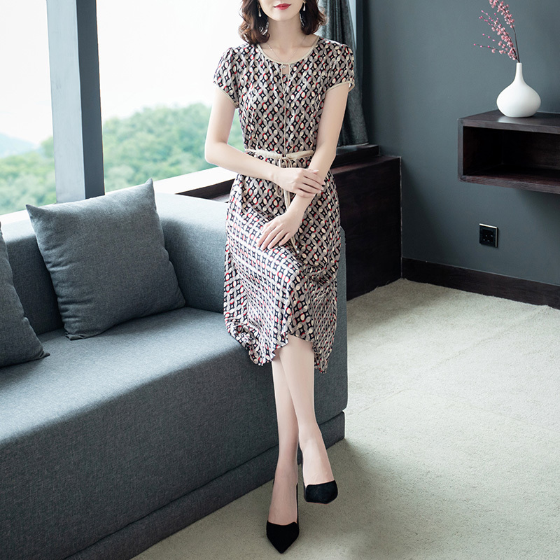 0141 Summer Silk Dress For Women Short Sleeve O neck Dresses Female Printed Slim Casual Dress In Women Tunic Clothing Plus Size in Dresses from Women 39 s Clothing