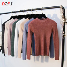 DOMI 2018 New Autumn Winter Women Warm Bottoming Jumper Bright Line Knitted Turtleneck High-Elasticity Female Slim Fit Sweaters(China)