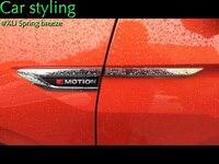 For VW Tiguan MK2 2016 2017 Car Side Wing Fender Emblem Badge With 4 Motion Sticker