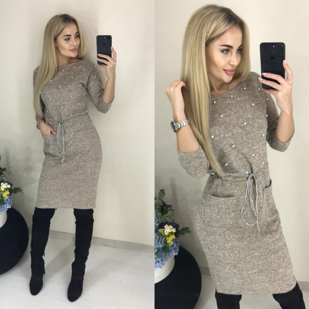 Women Winter Spring Colors Cotton Dress Beading Knee-Length Stretch Elegant Long Sleeve O-neck Pockets Office Dresses 2019