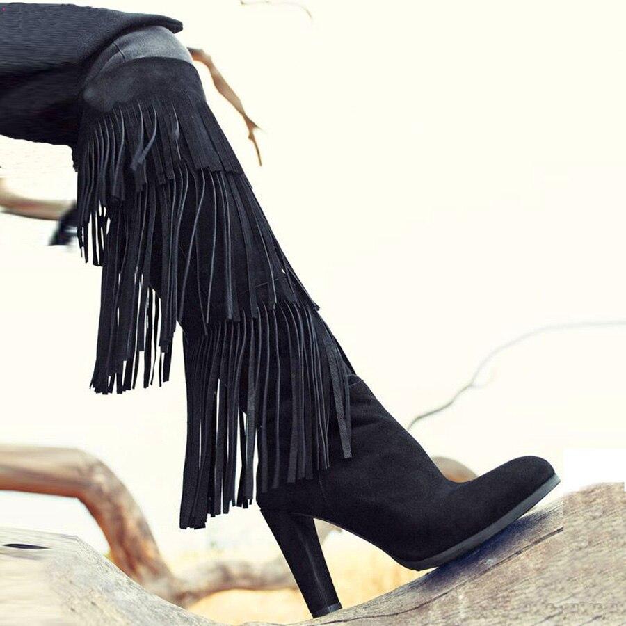 Новые прибытия высокое качество замши круглые носом гольфы кисточкой сапоги мода квадратный каблук зимние ботинки женщин