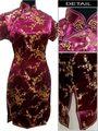 Burgundy Women 's Qipao Mini Cheong-sam Evening Dress Flower S M L XL XXL XXXL 4XL 5XL 6XL J4037
