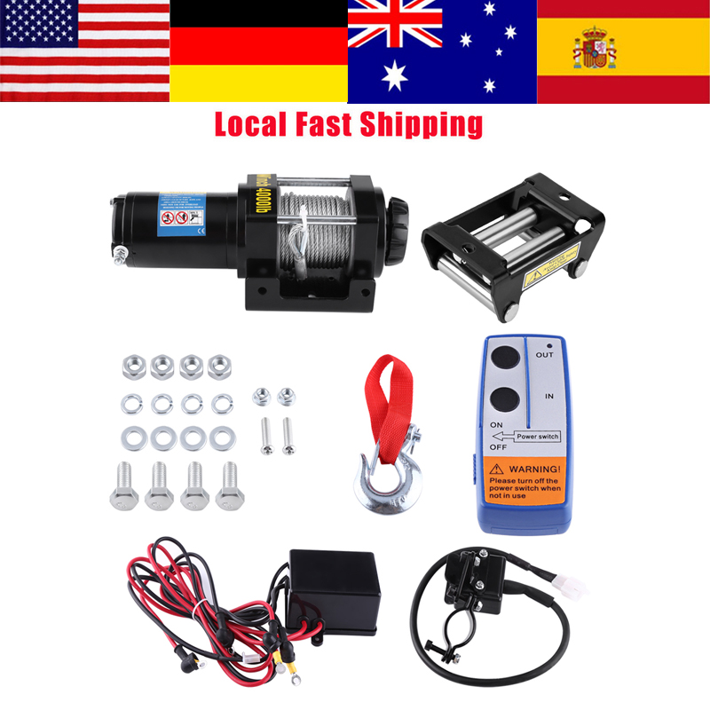 1Set Electric 4000lb Car Winch Wire Recovery winch Towing Steel Cables Pull Kit 12V ATV Quad