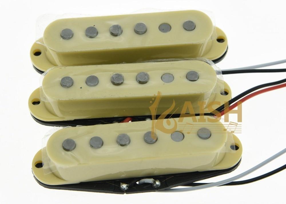 3x Cream  Alnico 5 Single Coil Pickups ST Strat SSS Pickup Set niko 50pcs chrome single coil pickup screws