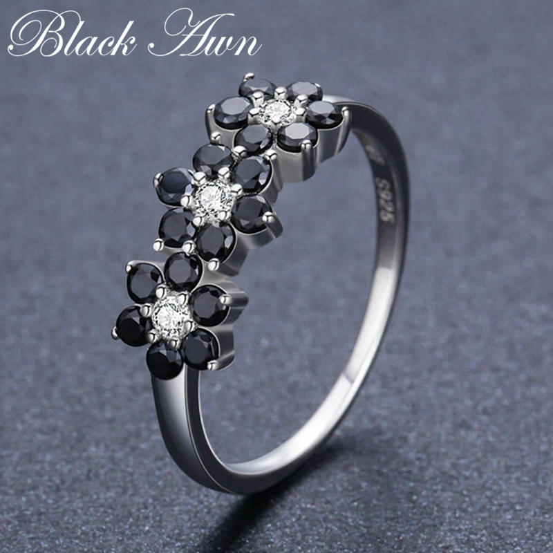 Black Awn Cute 925 Sterling Silver Fine Jewelry Flower Bague Black Spinel Wedding Rings For Women Girl Party Gift CC464