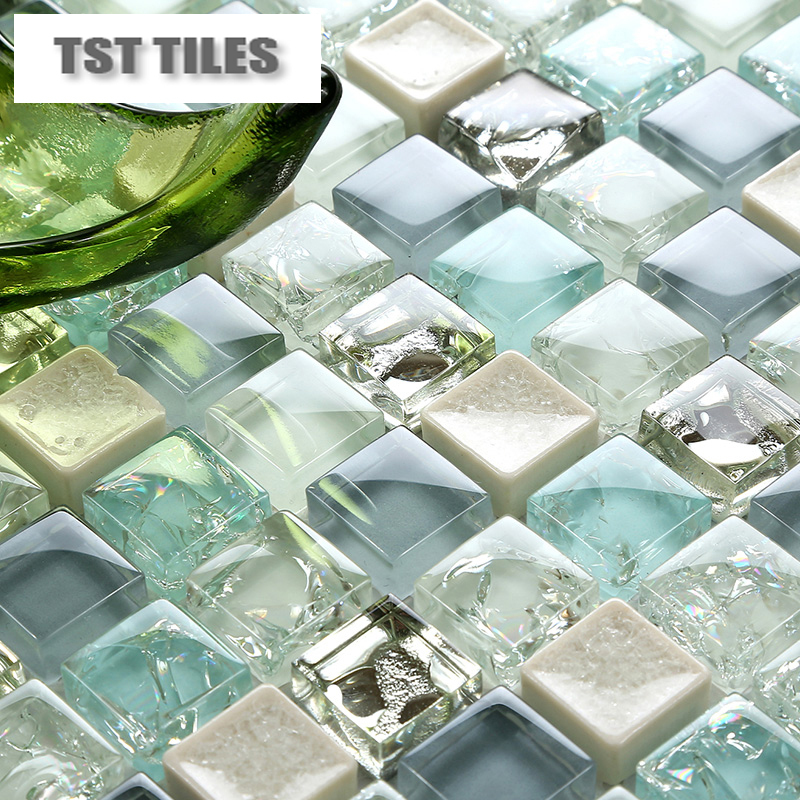 11 sheets lot wholesale sea glass tiles mosaics blue white for Sea glass bathroom ideas