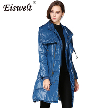 EISWEKT Stand Collar Women's Winter Down Jackets Long Style Thin Duck Down Coats Female Slim Jacket Parkas Coat Women Clothing