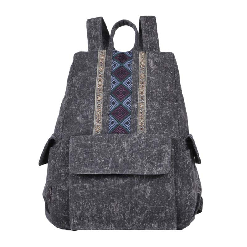 Chinese Retro Style Women Embroidery Backpack Ethnic Characteristics Of Leisure Canvas Backpack Shoulder Satchel Bag