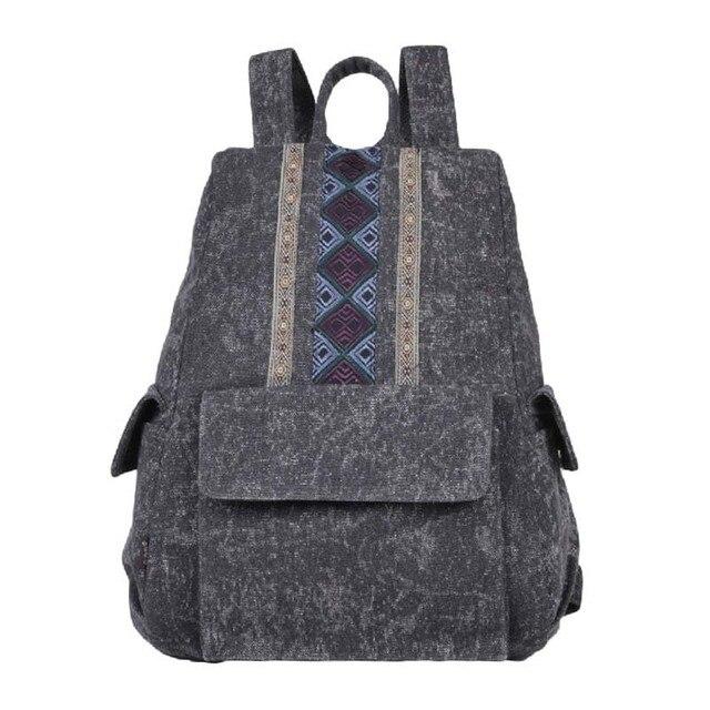 227d3accd4 Mulheres retros do estilo chinês Bordado mochila características Étnicas de  lazer lona mochila saco mochila no
