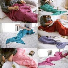 Moda Super Suave y Cálida Mano de Ganchillo Mermaid Tail Sofá Manta Manta Mantas ADULTOS Lindo