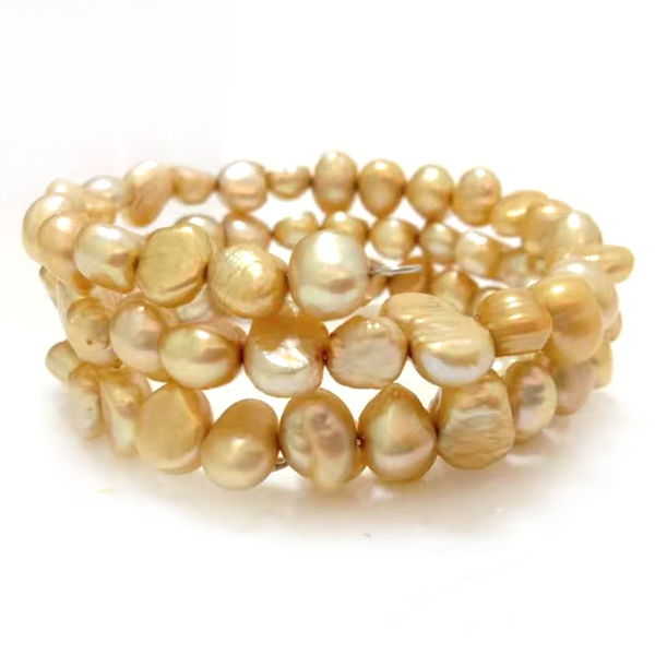 wholesale mix colored pearl Bracelet 7.5/'/'8-10mm very high luster Baroque round Freshwater pearl Elastic string Bracelet