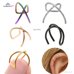 2pcs Cool X Cross Fake Piercing Helix Piercing Ring Labret Lip Ring Pircing de Orelha Fake Earrings Cuff Stainless Steel Jewelry(China)