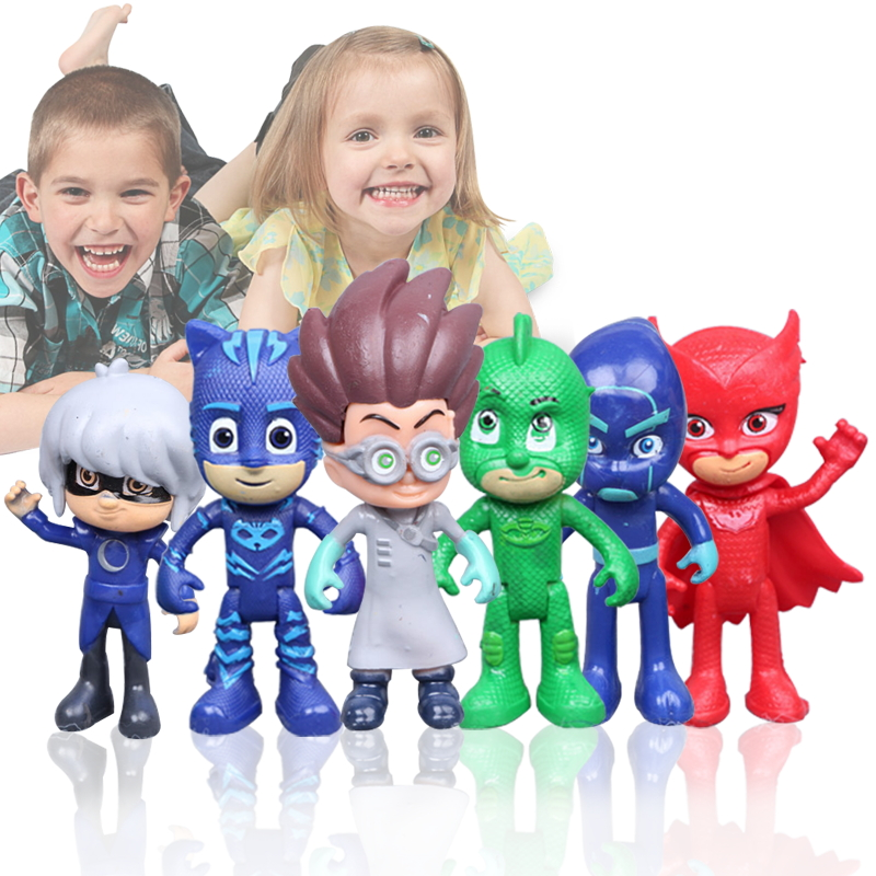 6 pcs Anime Figures PJ Mask Character Action Figures Catboy Owlette Model Toys Collectible Model Pjmask Toy Boy Birthday Gift new very cool action toy figures 6 pcs orcs with weapon ancient military solider model set diy assembly half orc model puppet
