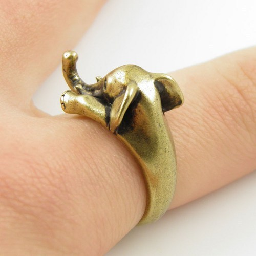 2016 New Elephant Animal Ring in Antique Silver and Bronze color for Woman Unique Rings JZ301 5