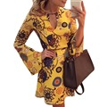 FGirl Платья для Женщин Сексуальное Платье Желтый Печатных Белл С Длинным Рукавом Конькобежец Платье FG41498