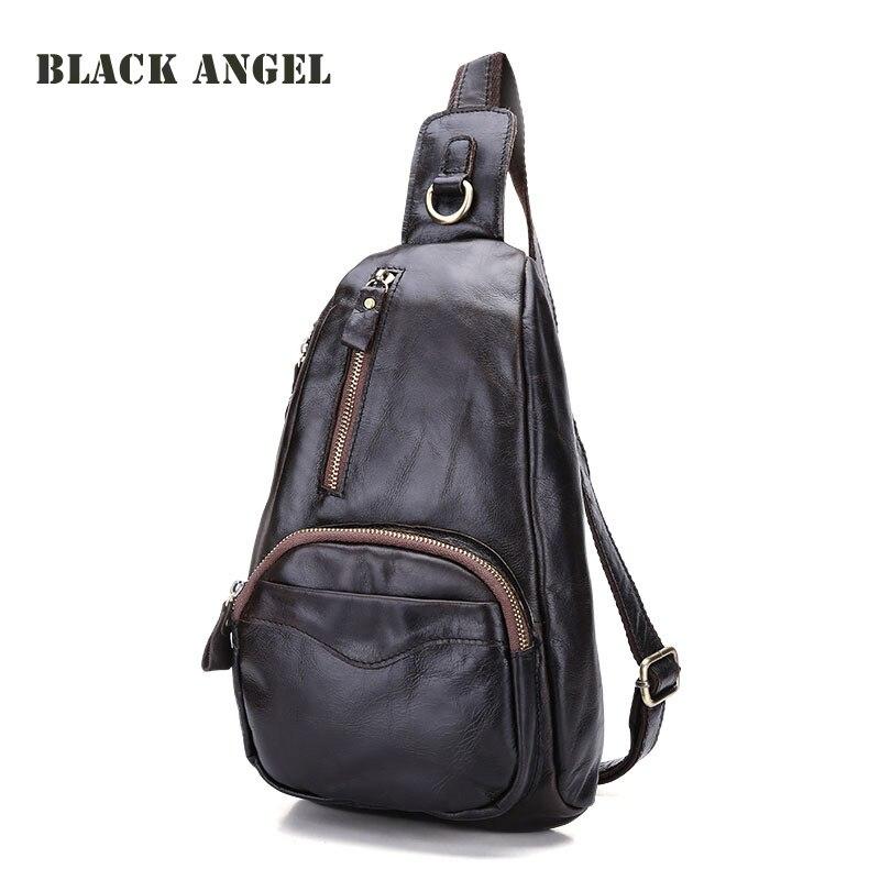 Genuine leather men's waist pack bag fashion street chest bag casual nubuck cowhide Shoulder Bags Sling bag