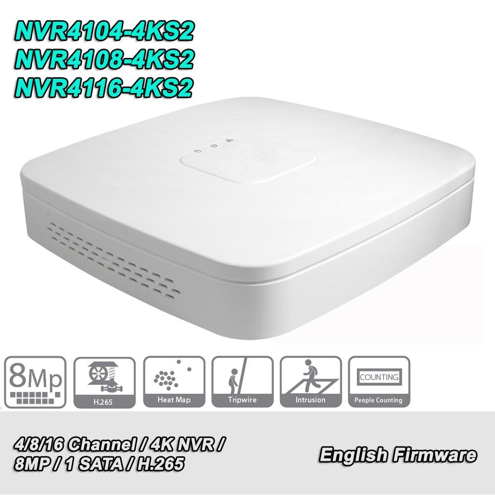 English Original NVR DH NVR4104 4KS2 NVR4108 4KS2 NVR4116 4KS2 8MP 4 8 16 Ch Smart