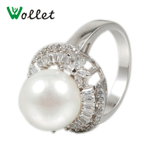 цена на 2017 Wollet New Arrivals Magnetic Pure Copper Ring Health Bead Vacuum Plated Platinum Color CZ Stone Rings For Women luxury Gift
