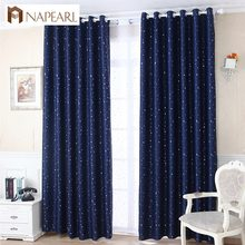 High shading blackout curtain kid bedroom child star design navy blue white curtain shade window treatment curtain panel drapery(China)