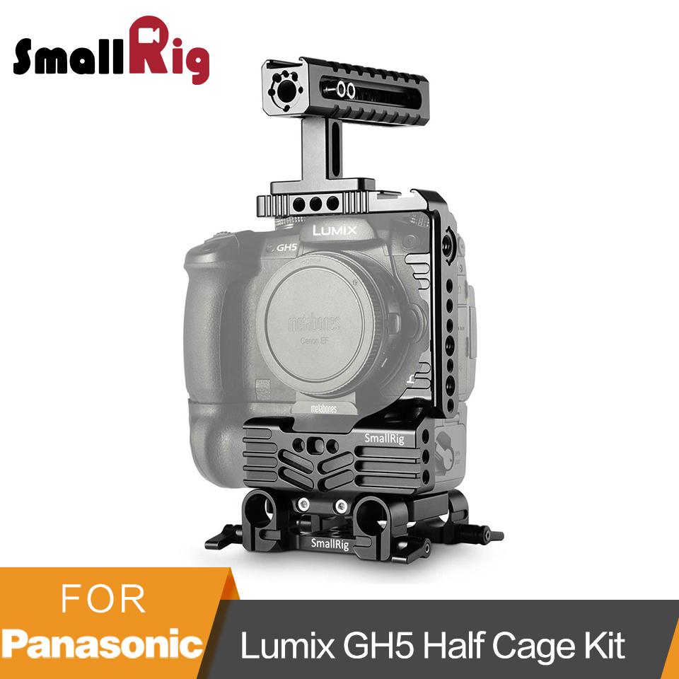 SmallRig GH5 Cage for Panasonic Lumix GH5 Half Cage Kit with Battery Grip +Top Handgrip +Dual Rod Clamp Baseplate System-2025 panasonic lumix gh5