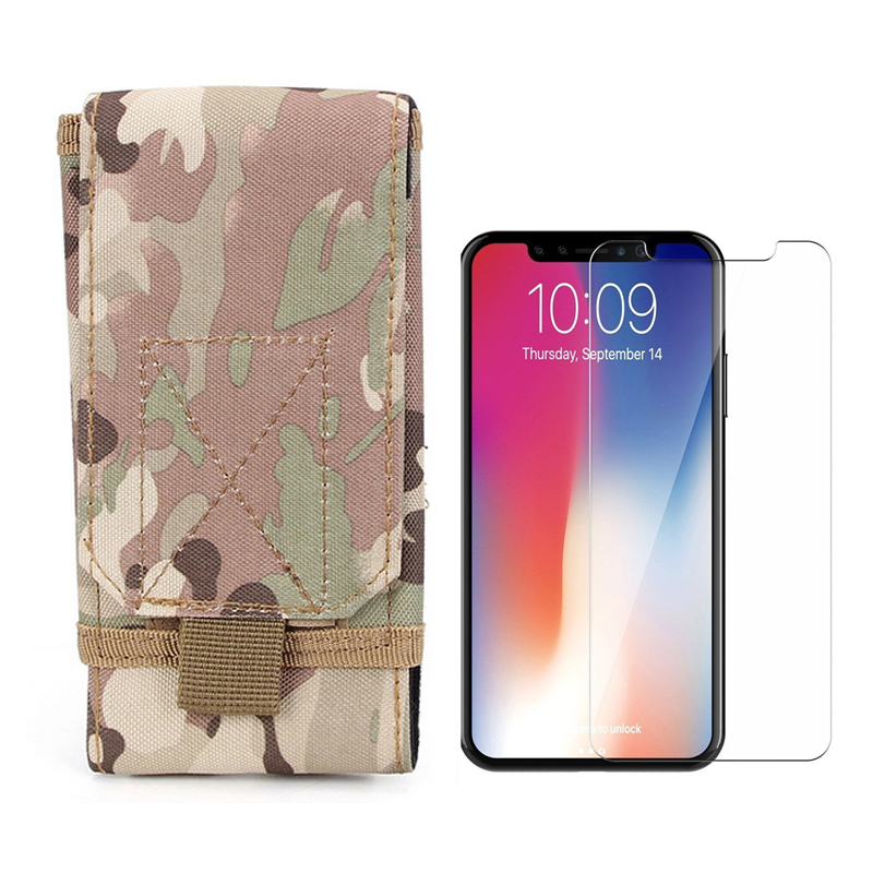 Outdoor Army Camo Camouflage Portable Bag Belt Pouch Case + 9H Tempered Glass LCD Screen Protector for iPhoneX iPhone X