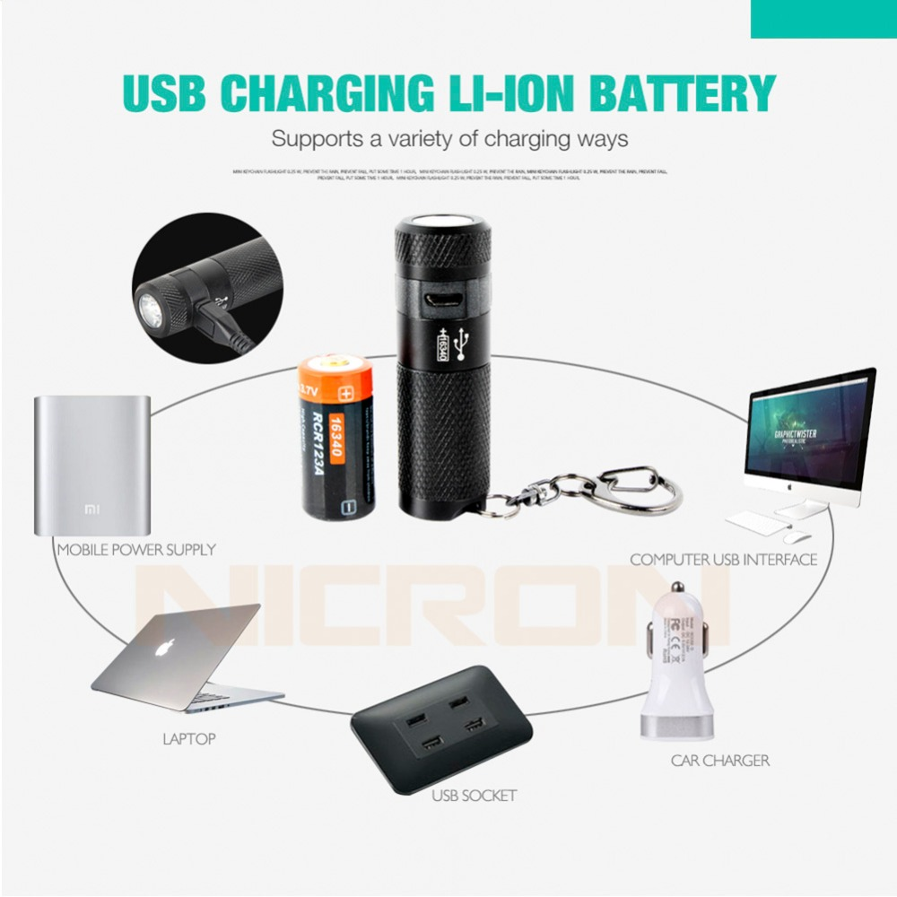 Image 5 - NICRON 3W USB Mini LED Light Waterproof Flashlight Keychain Rechargeable Compact Lamp Torch 3 Modes For Household Outdoor etc-in LED Flashlights from Lights & Lighting
