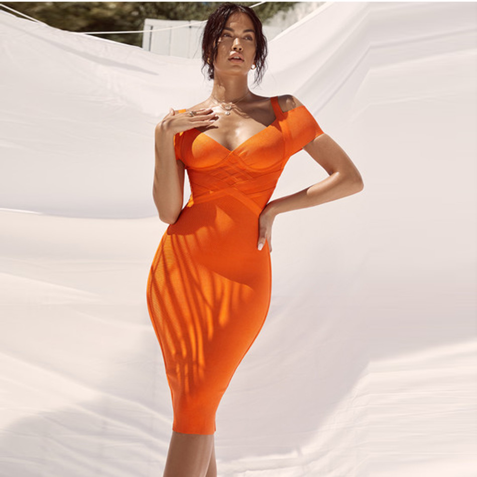 Elegant Cold Shoulder Cross Orange Bandage Dress Women Fashion Strappy V Neck Sheath Robe Femme Sexy