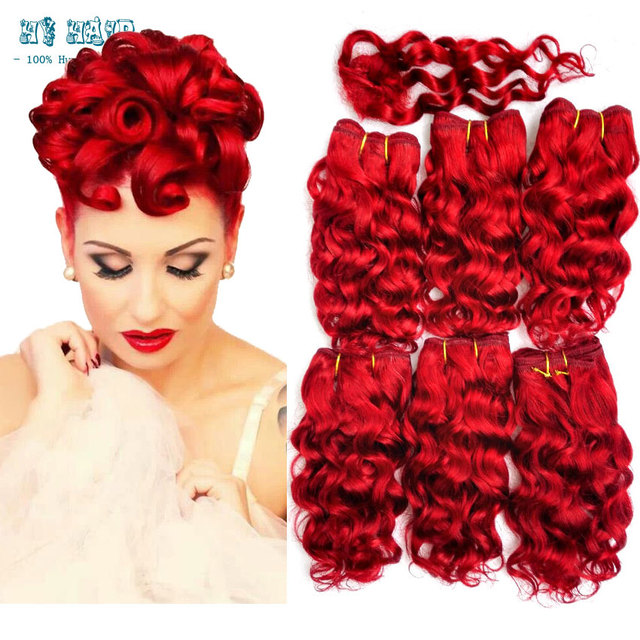 Hot Sale Red Human Weave Hair Wholesale Hair 6pcs Short Bump Hair