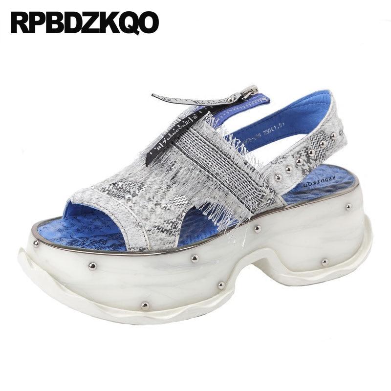 Flatform Fringe Flat Sandals Rivet Peep Toe Designer Shoes Women Luxury 2018 Sneakers Platform Harajuku Genuine Leather Stud sexy women s peep toe shoes with multi layer fringe and rivet design