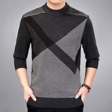 Autumn Winter Soft Warm Sweater Men Knitted Pullover Men Casual Geometric O-Neck Pull Homme Plus Size M-3XL