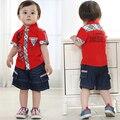 Идентификаторы одежда мальчики 3 лет летняя одежда набор мальчиков верхняя одежда + короткие джинсовые брюки мальчик красный плед отложным воротник наборы
