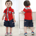 ids clothes boys 3 years summer clothing set boys outerwear +denim short pants boy  red plaid turn-down collar sets