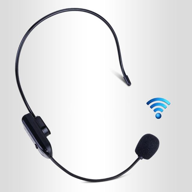 Black Portable FM Wireless Microphone Headset Radio Megaphone For Tour Guide Teaching Meeting Lectures Supplies