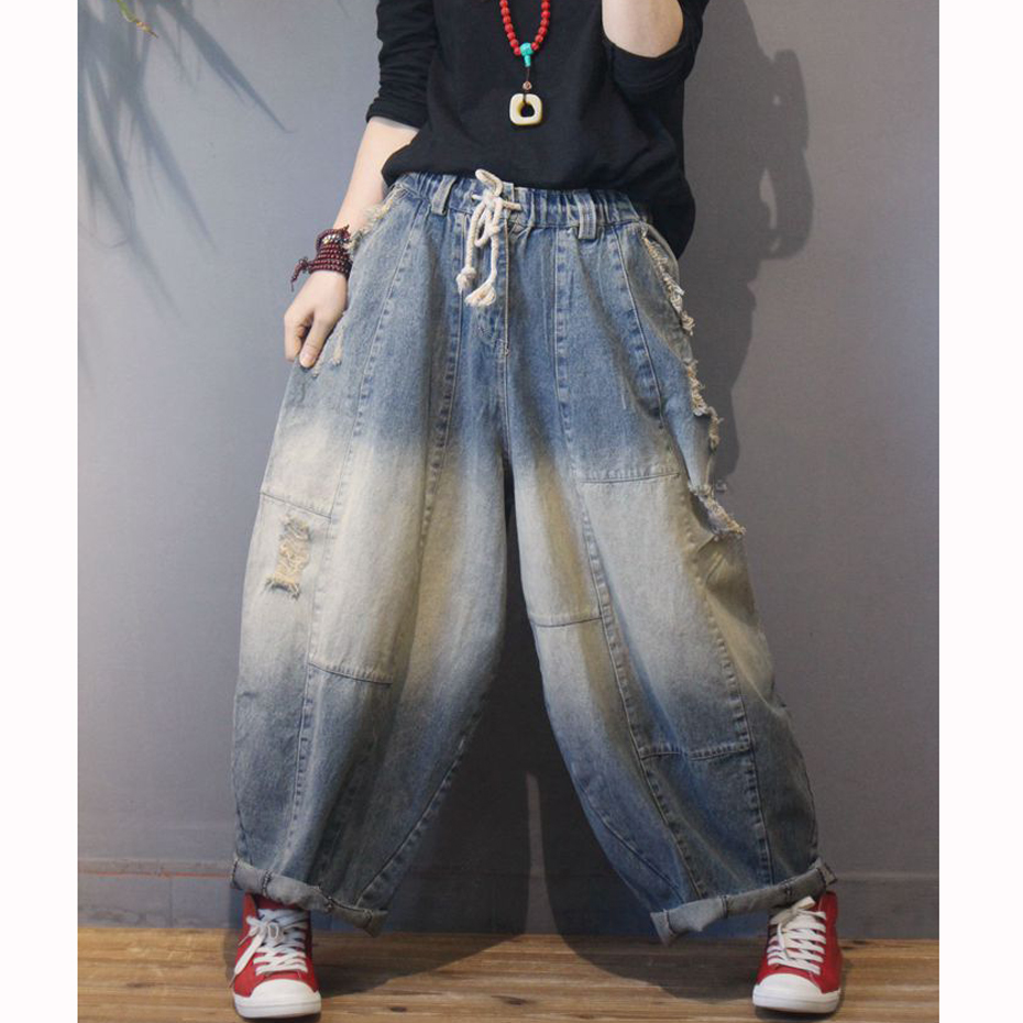 Wide Leg Bottom   Jeans   Denim Straight Pants Trousers for Women Big Oversized Loose Distressed Retro Vintage Casual Fashion 60030