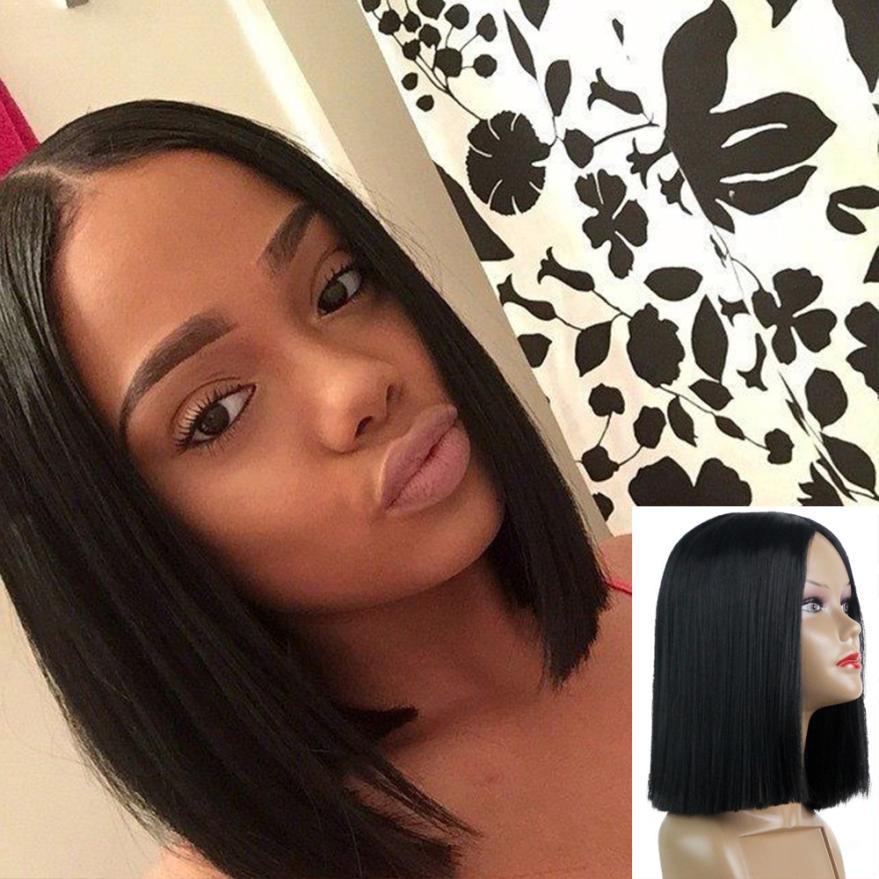 Womens Fashion Short Straight Black Synthetic Hair Wigs Hair Accessories 0623