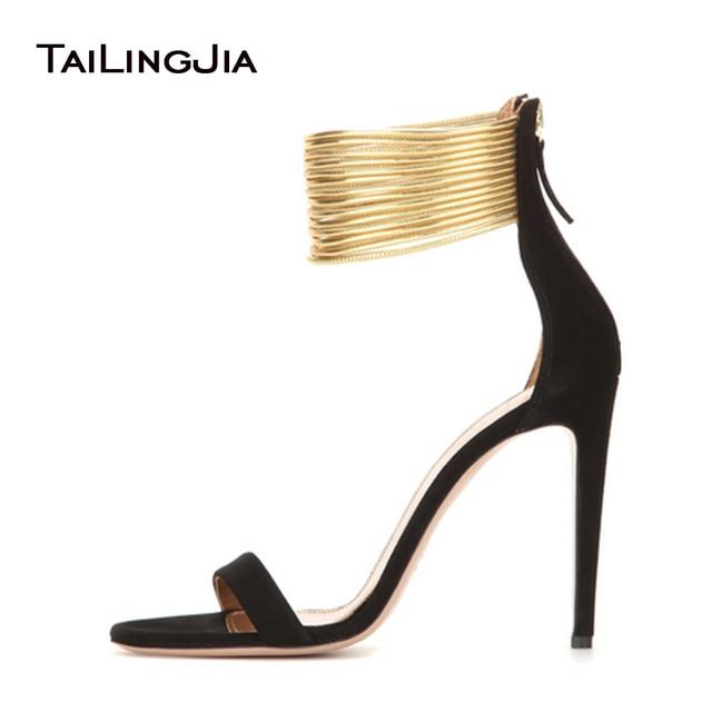 Women Extreme High Heel Sandals 2018 Black Suede Strappy Heels Beige  Stilettos Ankle Wrap Elegant Ladies Covered Heel Shoes 670058217d57