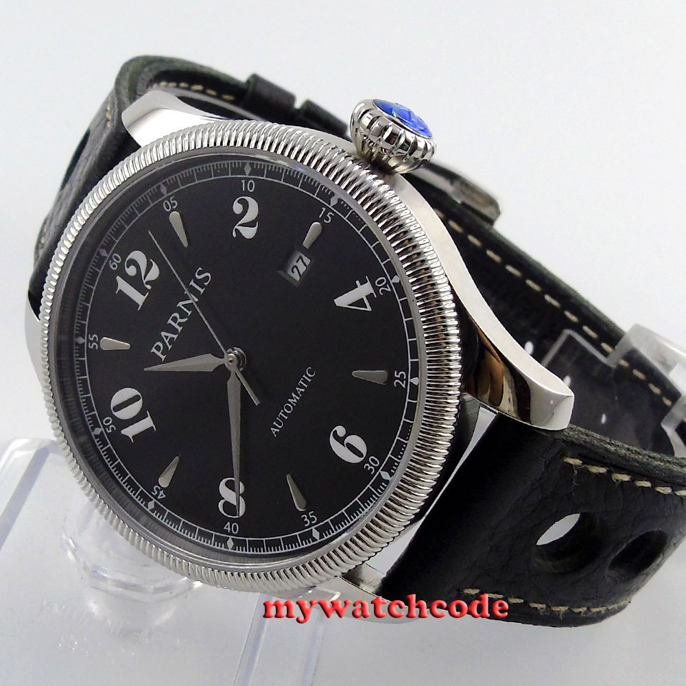 42mm Parnis black dial Sapphire Glass 21 jewels miyota Automatic mens Watch P416 42mm parnis black dial multifunction sapphire glass black leather strap 26 jewels miyota 9100 automatic mens watch