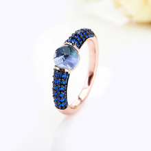 Black And Rose Gold With Blue Zircon Crystal Fashion Ring Gift 15 Colors
