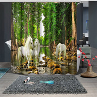 Horse Print and Green tree Europe Beautiful Luxury Bathroom Waterproof 3D Shower Curtains