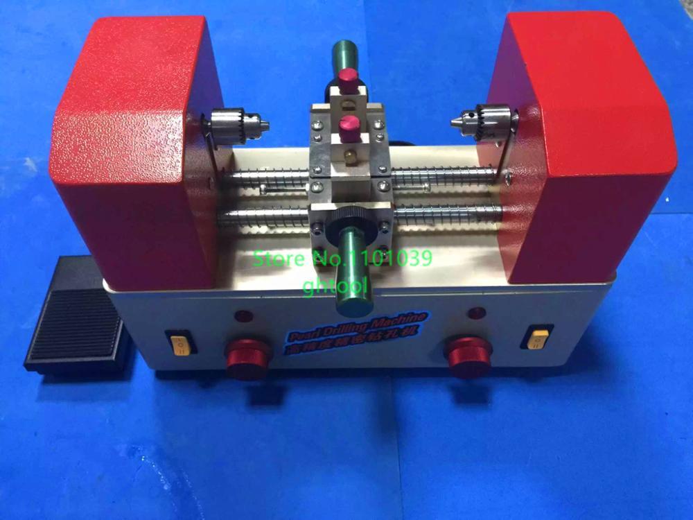 Hoge Kwaliteit 220 V 8000 rpm Sieraden Kralen Boren Machine Dubbele Hoofd Parel Holing Machine Twee Manier Kralen Driller ghtool