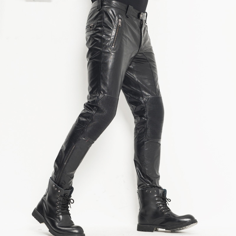 Men's Leather Pants Moto&Biker Punk Rock Pants Slim Sheepskin Leather Trousers  WZS004