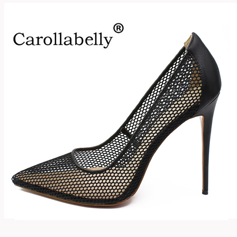 2018 New Brand Shoes Woman Mesh High Heels Women Pumps Pointed Toe 12CM Wedding Party Stilettos Shoes Big Size 34-46 sequined high heel stilettos wedding bridal pumps shoes womens pointed toe 12cm high heel slip on sequins wedding shoes pumps